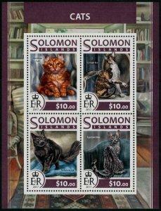 HERRICKSTAMP NEW ISSUES SOLOMON ISLANDS Sc.# 2293 Cats Sheetlet of 4 Different