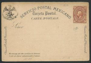 MEXICO Early 3c postcard unused............................................66225