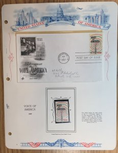 #1329 Voice of America FDC and MNH Single in mount on souvenir page