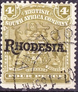 RHODESIA - BRITISH SOUTH AFRICA CO 1909 KEDVII 4d Olive SG105 Used
