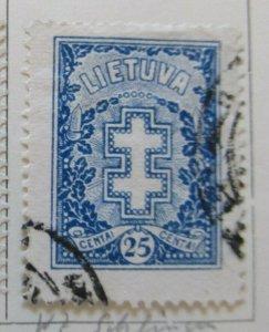 A11P5F54 Litauen Lituanie Lithuania 1926-27 Wmk Intersecting Diamonds 25c used