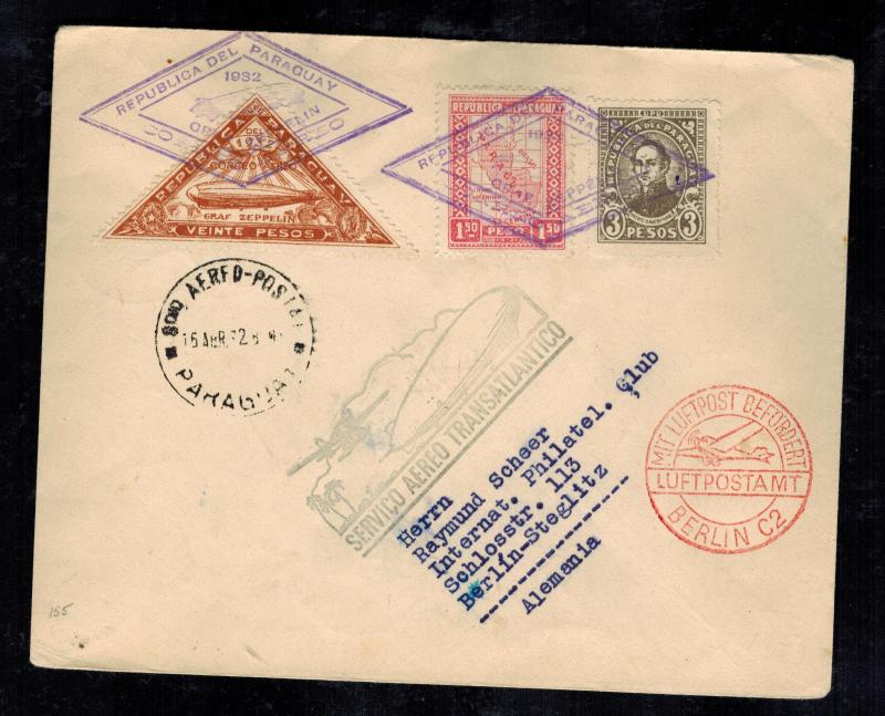 1932 Paraguay Graf Zeppelin Cover to Berlin Germany  LZ 127 Airship