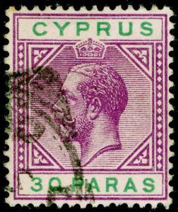 CYPRUS SG76, 30pa violet & green, FINE USED. WMK MULT CA
