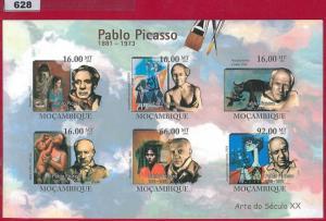 628 - MOZAMBIQUE -   2011 IMPERF SHEET: Pablo Picasso, 20th Cent. Art