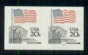 US #1895d 20¢ Flag, Imperforate Pair w/Plate #8, NH, VF