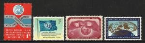 United Nations, New York 1962 Scott# 104-107 MNH