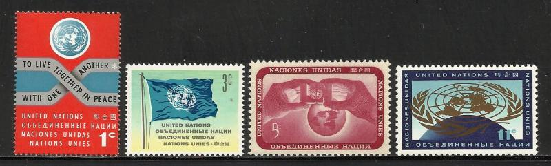 United Nations, New York 1962 Scott# 104-107 MNH