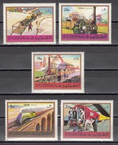 Fujeira, Mi cat. 635-639 A. Old Locomotives issue.