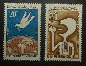 Tunisia 435-36. 1963 FAO, NH