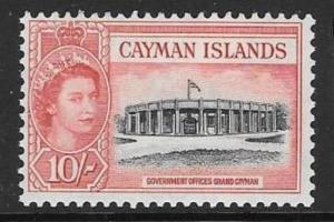 CAYMAN ISLANDS SG161 1955 10/- BLACK & ROSE RED MTD MINT