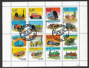 STATE OF OMAN 1972 TRAINS AND CARS Miniature Sheet of 8 Fantasy Issue Used