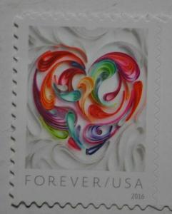 United States 2016 forever stamp love heart