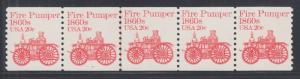 US Sc 1908 MNH. 1982 20c vermilion Fire Pumper, Plate #2 under 2nd, strip of 5