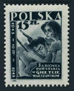 Poland 418,MNH.Michel 485. Ghetto uprising,Warsaw,5th Ann.1948.Insurgents.