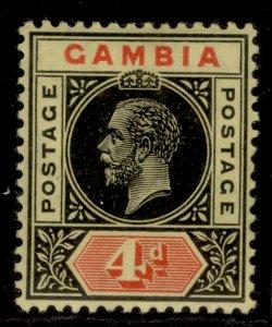 GAMBIA GV SG92b, 4d black & red/orange-buff, LH MINT. Cat £10.