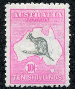 Australia 55 Mint LH 10 SH, Pink & Gray 3rd wmk Kangaroo