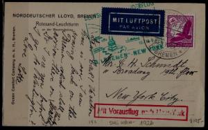 Germany Catapult card 12.6.35 Bremen-NY