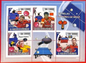 A3193- SAO TOME & PRINCIPE, ERROR MISSPERF, Miniature s: 2009 Ping Pong, FLAGS