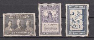 J27819, 1949 philippines set  mnh #b1-3 designs