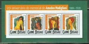 GUINEA BISSAU 2015 95th MEMORIAL  ANNIVERSARY OF AMEDEO MODIGLIANI  SHT MINT NH
