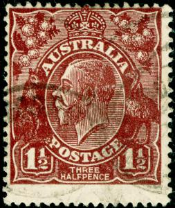 AUSTRALIA SG52, 1½d red-brown, USED. CDS.