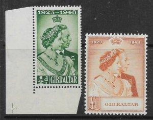 GIBRALTAR SG134/5 1948 ROYAL SILVER WEDDING SET MTD MINT