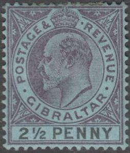 Gibraltar 1903 KEVII 2½d Dull Purple & Black on Blue MHR