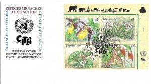 1996 UN FDC, Vienna #196-199, Endangered Species, inscription block