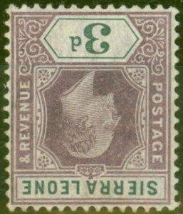 Sierra Leone 1904 3d Dull Purple & Grey SG91w Wmk Inverted Fine Mtd Mint