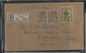MALTA  (PP2708B) 1928 MELITA 3D+ KGV 1/4DX6 REG TO USA