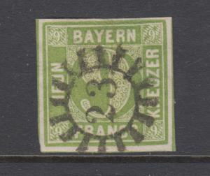 Bavaria Sc 6 used. 1850-58 9kr yellow green Numeral, 23 closed Millwheel cancel