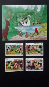 Disney - Anguilla 1985. - Christmas, Brothers Grimm ** MNH Block + Set Complete