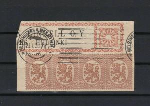 finland 1920 stamps block cancelled on piece stamps ref r11133