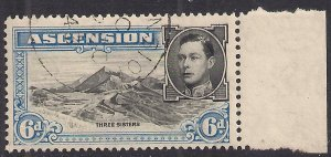 Ascension Island 1938 - 53 KGV1 6d Blue & Black used SG 43 ( C382 )