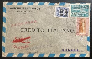 1940s Montevideo Uruguay Italian Belgian Bank Airmail Cover To Milan Italy