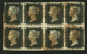 GB QV PENNY BLACK 1840 Plate 8 A MAGNIFICENT BLOCK OF EIGHT SG 1 RARELY SEEN