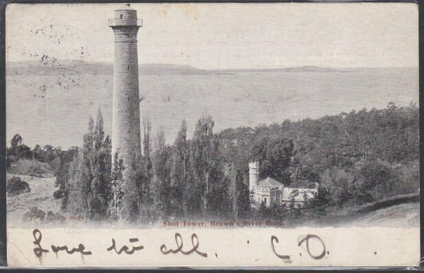 TASMANIA 1905 postcard Hobart to Launceston - Shot Tower...................53734
