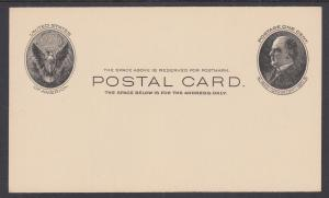 US Sc UX18 mint 1902 1c black McKinley Postal Card, fresh & VF