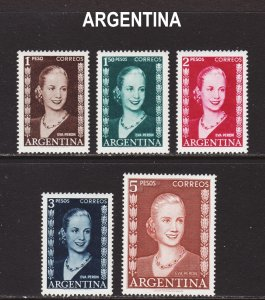 Argentina Scott 611-15 F to VF mint OG H.