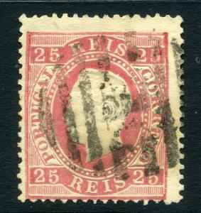 PORTUGAL;  1867 early classic Luis issue used 25r. value