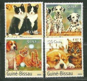Guinea-Bissau MNH Set Of Cats & Dogs Mammals 2003
