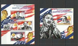 TG484 2014 TOGO FAMOUS PEOPLE NOBEL PEACE PRIZE MARTIN LUTHER KING KB+BL MNH