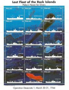 Palau 1995 Lost Fleet of Rock Islands 18 Stamp Sheet Scott #368 16D-016