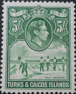 Turks & Caicos Islands 1938 GVI 5/- SG 203 mint