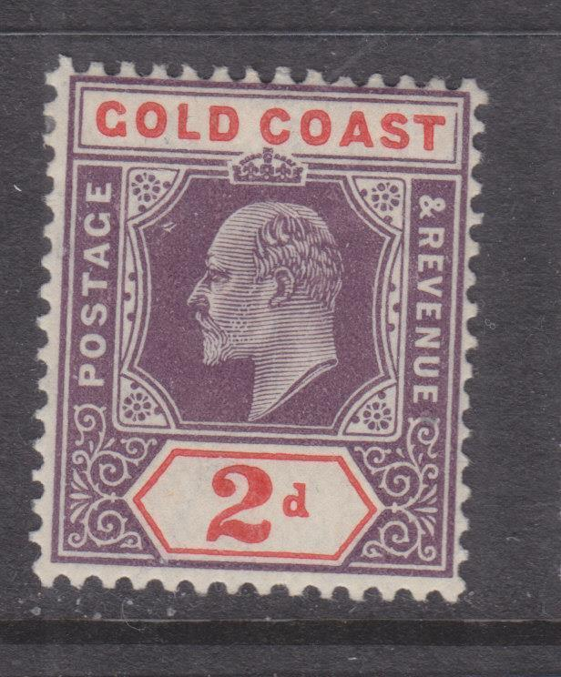 GOLD COAST, 1904 KEVII, Mult. CA, 2d. Purple & Orange Red, lhm.