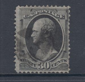 US Sc 154 used 1870 30c black Hamilton without Grill Scarce