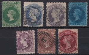 SA250) South Australia 1868-79 perf 11½-12½ simplified set of 7, 1d Green to 2/-