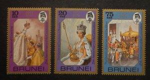 Brunei 229-31. 1978 QE Coronation anniversary