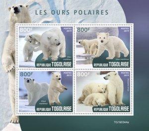 TOGO - 2019 - Polar Bears - Perf 4v Sheet - MNH