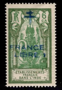 FRENCH INDIA  Scott 159 MH* France Libre  Brahma overprint